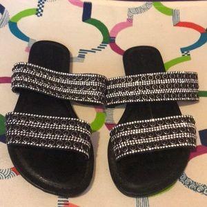 Black embellished sandals